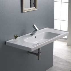 CERASTYLE 031400-U FRAME 39 X 18 INCH RECTANGLE WHITE CERAMIC WALL MOUNTED OR SELF RIMMING SINK