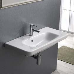CERASTYLE 033300-U-ONE HOLE NOURA PLUS 32 INCH RECTANGLE WHITE CERAMIC WALL MOUNTED SINK OR SELF RIMMING SINK