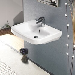 CERASTYLE 033100-U-ONE HOLE NOURA PLUS 24 INCH RECTANGLE WHITE CERAMIC WALL MOUNTED OR SELF RIMMING SINK