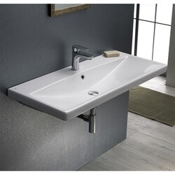 CERASTYLE 032400-U ELITE 39 X 18 INCH RECTANGLE WHITE CERAMIC WALL MOUNTED OR SELF RIMMING SINK