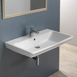 CERASTYLE 040100-U ARICA 32 X 20 INCH RECTANGLE WHITE CERAMIC WALL MOUNTED OR SELF RIMMING SINK