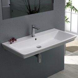 CERASTYLE 040300-U ARICA 39 X 19 INCH RECTANGLE WHITE CERAMIC WALL MOUNTED OR SELF RIMMING SINK