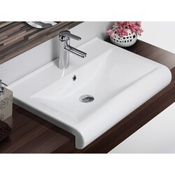 CERASTYLE 061500-U-ONE HOLE SIDE 26 INCH RECTANGLE WHITE CERAMIC WALL MOUNTED OR SEMI RECESSED SINK