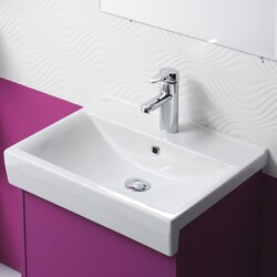 CERASTYLE 063500-U-ONE HOLE RIVA B 22 INCH RECTANGLE WHITE CERAMIC WALL MOUNTED OR SELF RIMMING SINK