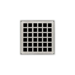 INFINITY DRAIN QD 5-2 5 X 5 INCH STRAINER-SQUARES PATTERN AND 2 INCH THROAT WITH DRAIN BODY WITH 2 INCH OUTLET