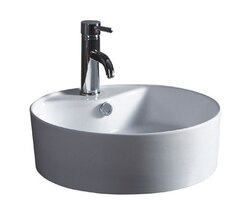 WELLS SINKWARE CGA1818-6W 18 X 18 INCH ROUND SINGLE BOWL VITREOUS CERAMIC LAVATORY ABOVE COUNTER IN WHITE