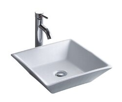 WELLS SINKWARE CSA1717-5W THE CHINA LUXE COLLECTION 16-1/2 INCH TOPMOUNT CHINA LAVATORY