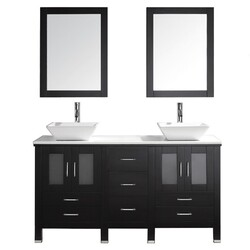 VIRTU USA MD-4305-S BRADFORD 60 INCH DOUBLE BATH VANITY WITH WHITE ENGINEERED STONE TOP AND SQUARE SINK WITH POLISHED CHROME FAUCET AND MIRRORS