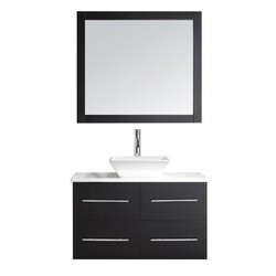 VIRTU USA MS-565-S-001 MARSALA 35 INCH SINGLE BATH VANITY WITH WHITE ENGINEERED STONE TOP AND SQUARE SINK WITH BRUSHED NICKEL FAUCET AND MIRROR