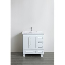 EVIVA EVVN999-30WH LOON 30 INCH LONG HANDLES ACCLAIM EDITION TRANSITIONAL WHITE BATHROOM VANITY WITH WHITE CARRERA MARBLE COUNTER-TOP