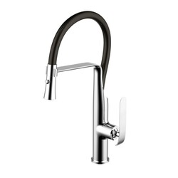 WATER-CREATION F5-0011-01 SINGLE HOLE PULL-OUT KITCHEN FAUCET WITH SUPPLY LINES IN CHROME
