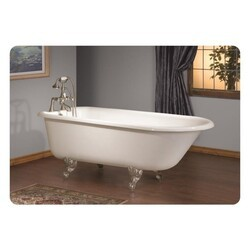 CHEVIOT 2093-WC-6 TRADITIONAL 54 INCH CAST IRON BATHTUB WITH 6 INCH FAUCET HOLE DRILLINGS