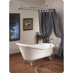 CHEVIOT 2108-WC SLIPPER 61 INCH CAST IRON BATHTUB WITH CONTINUOUS ROLLED RIM