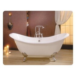 CHEVIOT 2112-BC-6 REGENCY 72 INCH CAST IRON BATHTUB WITH 6 INCH FAUCET HOLE DRILLINGS