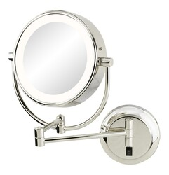 APTATIONS 945-55-135HW NEOMODERN LED LIGHTED HARDWIRED WALL MIRROR IN BRUSHED BRASS