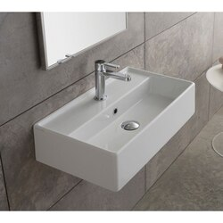 SCARABEO 5003 TEOREMA 31.5 INCH CERAMIC WALL MOUNTED OR VESSEL SINK