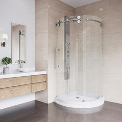 VIGO VG6031CL40WL SANIBEL 40 X 40 INCH ROUND SLIDING DOOR SHOWER ENCLOSURE WITH LEFT-SIDED OPENING AND BASE