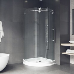 VIGO VG6031CL40WR SANIBEL 40 X 40 INCH FRAMELESS ROUND SLIDING DOOR SHOWER ENCLOSURE WITH RIGHT-SIDED OPENING AND BASE