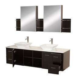 WYNDHAM COLLECTION WCS007SH72ESWHD28WH AVARA 72 INCH ESPRESSO WITH WHITE MAN-MADE STONE TOP WITH WHITE PORCELAIN SINKS