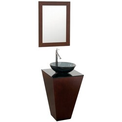 WYNDHAM COLLECTION WCSCS004ESSMB015 ESPRIT 20.125 INCH ESPRESSO WITH SMOKE GLASS TOP WITH SMOKE GLASS SINK