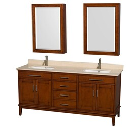 WYNDHAM COLLECTION WCV161672DCLIVUNSMED HATTON 72 INCH LIGHT CHESTNUT, IVORY MARBLE COUNTERTOP, UNDERMOUNT SQUARE SINKS