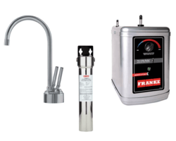 FRANKE LB8280-100-3HT TWIN FAUCET SET WITH LB8280 HOT AND COLD FILTERED WATER DISPENSER, FRCNSTR FILTER CANISTER AND HT300 LITTLE BUTLER HEATING TANK IN SATIN NICKEL