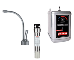 FRANKE LB9280-FRC-3HT LOGIK FAUCET SET WITH LB9280 HOT AND COLD WATER DISPENSER, FRCNSTR FILTER CANISTER AND HT300 LITTLE BUTLER HEATING TANK IN SATIN NICKEL