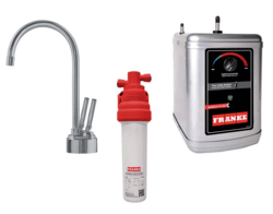 FRANKE LB8280-100-3HT TWIN FAUCET SET WITH LB8280 HOT AND COLD FILTERED WATER DISPENSER, FRCNSTR100 FILTER CANISTER AND HT300 LITTLE BUTLER HEATING TANK IN SATIN NICKEL