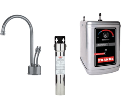 FRANKE LB6280-FRC-3HT FARM HOUSE HOT AND COLD WATER FAUCET WITH FRCNSTR FILTER CANISTER AND HT300 LITTLE BUTLER HEATING TANK IN SATIN NICKEL