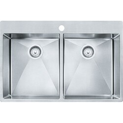 FRANKE HF3322-1 VECTOR 33-7/16 INCH DUAL MOUNT DOUBLE BOWL POLISHED SATIN KITCHEN SINK