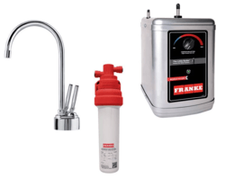 FRANKE LB8200-100-3HT TWIN FAUCET SET WITH LB8200 HOT AND COLD FILTERED WATER DISPENSER, FRCNSTR100 FILTER CANISTER AND HT300 LITTLE BUTLER HEATING TANK IN CHROME