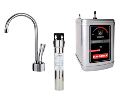 FRANKE LB7200-FRC-3HT AMBIENT FAUCET SET WITH LB7200 HOT AND COLD FILTERED WATER DISPENSER, FRCNSTR FILTER CANISTER AND HT300 LITTLE BUTLER HEATING TANK IN CHROME