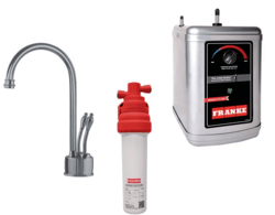 FRANKE LB6280-100-3HT FARM HOUSE HOT AND COLD WATER FAUCET WITH FRCNSTR100 FILTER CANISTER AND HT300 LITTLE BUTLER HEATING TANK IN SATIN NICKEL