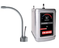FRANKE LB9180-3HT LOGIK FAUCET SET WITH LB9180 HOT WATER DISPENSER AND HT300 LITTLE BUTLER HEATING TANK IN SATIN NICKEL