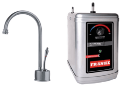FRANKE LB6180-3HT FARM HOUSE HOT WATER FILTRATION FAUCET WITH HT300 LITTLE BUTLER HEATING TANK IN SATIN NICKEL