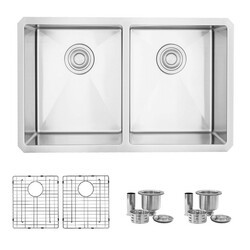 STYLISH S-300XG TOPAZ 28 X 18 INCH UNDERMOUNT DOUBLE BOWL STAINLESS STEEL KITCHEN SINK WITH GRIDS AND STRAINERS
