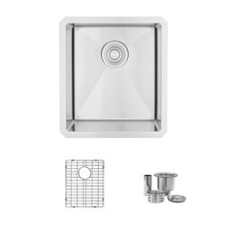 STYLISH S-309XG PEARL 16 X 18 INCH UNDERMOUNT BAR SINK SINGLE BOWL WITH GRID AND STRAINER
