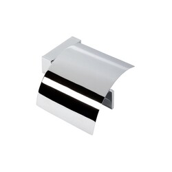 GEESA 3508-02 MODERN ART CHROME TOILET ROLL HOLDER WITH COVER