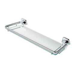 GEESA 7191-60 STANDARD HOTEL 24 INCH CLEAR GLASS BATHROOM SHELF HOLDER WITH CHROME