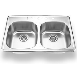 YOSEMITE MAG3322D HOME DECOR 22 X 33 INCH STAINLESS STEEL TOP MOUNT DOUBLE SINK