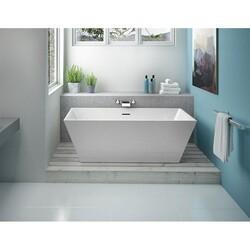 FLEURCO BCA5631-18 CALANDO PETITE 57 INCH RECTANGULAR BATHTUB IN WHITE WITH DRAIN COVER