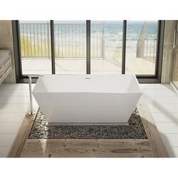 FLEURCO BCA6829-18 CALANDO GRANDE 69 INCH RECTANGULAR BATHTUB IN WHITE WITH DRAIN COVER
