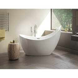 FLEURCO BCR6531-18 CRESCENT PETITE 66 INCH SPECIALTY BATHTUB IN WHITE WITH DRAIN COVER