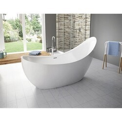 FLEURCO BCR7931-18 CRESCENT GRANDE 80 INCH SPECIALTY BATHTUB IN WHITE WITH DRAIN COVER