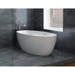 FLEURCO BVO5531-18 VOCE PETITE 55 INCH OVAL BATHTUB IN WHITE WITH DRAIN COVER