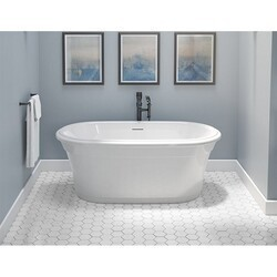 FLEURCO BZMA5931-18 MADRIGAL PETITE 59 INCH OVAL BATHTUB IN WHITE WITH DRAIN COVER