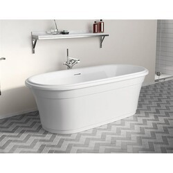FLEURCO BZMA6731-18 MADRIGAL GRANDE 67 INCH OVAL BATHTUB IN WHITE WITH DRAIN COVER