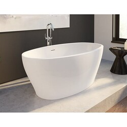 FLEURCO BZOC5931-18 OCTAVE PETITE 59 INCH OVAL BATHTUB IN WHITE WITH DRAIN COVER