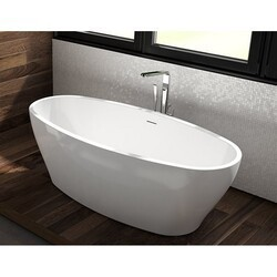 FLEURCO BZOC6731-18 OCTAVE GRANDE 67 INCH OVAL BATHTUB IN WHITE WITH DRAIN COVER