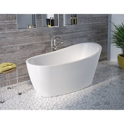 FLEURCO BZVE5931-18 VERISMO PETITE 59 INCH SPECIALTY BATHTUB IN WHITE WITH DRAIN COVER